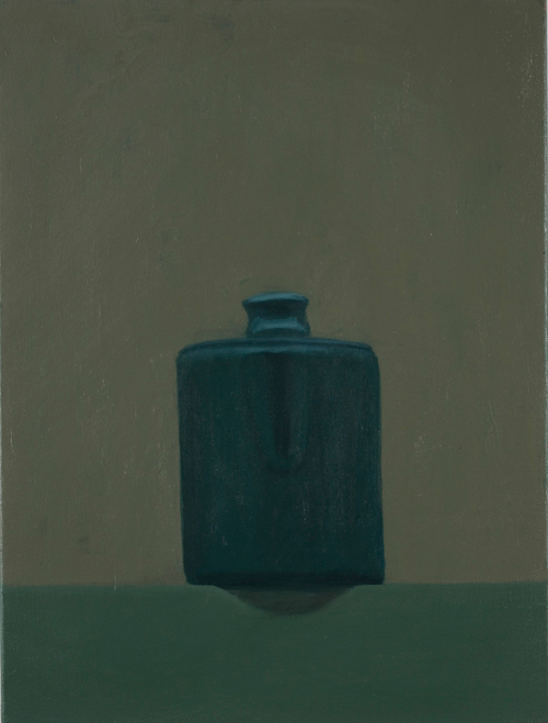coffee pot on a shelf , 2009 oil on canvas 16 1/8 x 12 1/8 inches