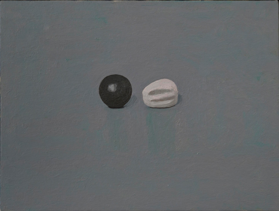 black and white fruit , 1999 oil on canvas 18 x 24 inches