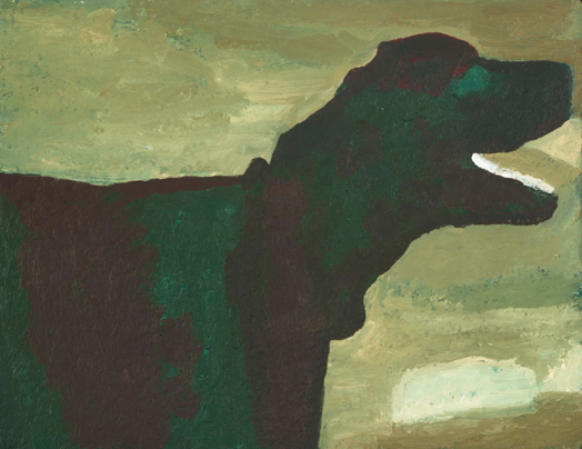 barking dog , 1995 oil on canvas 11 x 14 inches