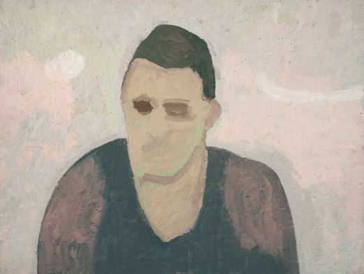 distant man , 1995 oil on canvas on wood 18 x 24 inches