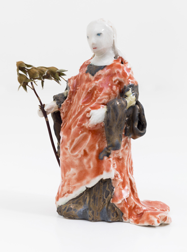 catherine of alexandria , 2013 glazed porcelain with dried flower 5 x 4 x 2.5""