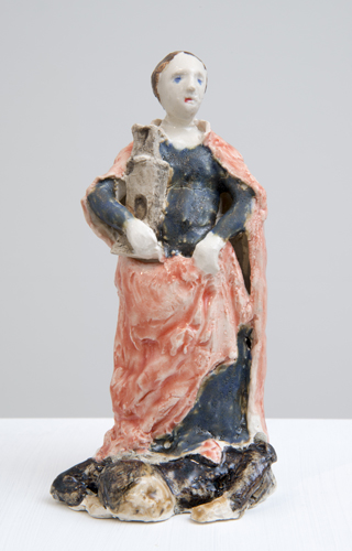 barbara (after ghirlandaio) , 2014 glazed porcelain 6 x 3 x 2.5""