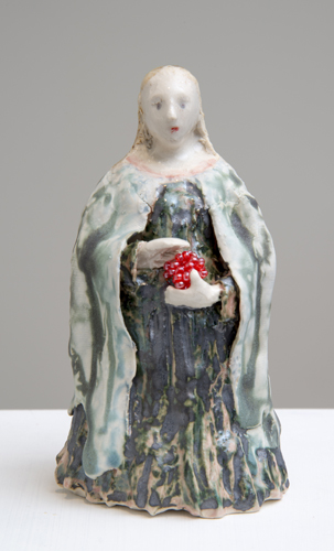 mary magdalene , 2014 glazed porcelain and glass beads 5.5 x 3 x 3""