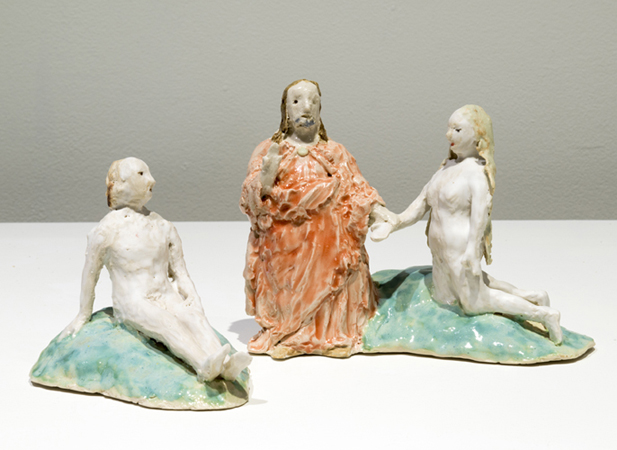 adam, eve, god (after bosch) , 2014 glazed porcelain 6 x 12 x 6""