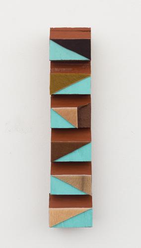 "Opatija , 2013 acrylic and fur  on wood 10.5 x 2.25 x 1.5"""
