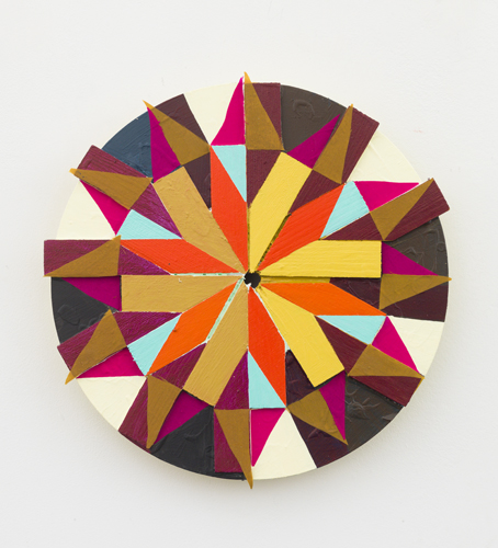 """pinwheel , 2013 acrylic and fabric  on wood 11"""""""