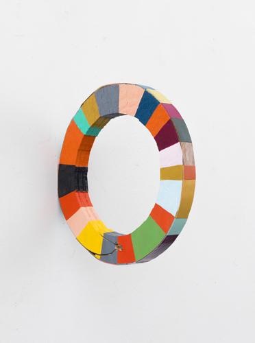 """wonderwheel , 2012 acrylic and leather on wood 8 x 1 x 8"""""""