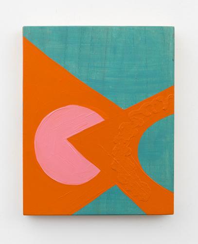 "flipside ,2013 acrylic and oil on wood, 12.5 x 10 x 1.5"""