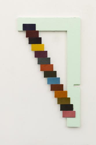 "escalera , 2013 acrylic and fur on wood 19.5 x 11"""