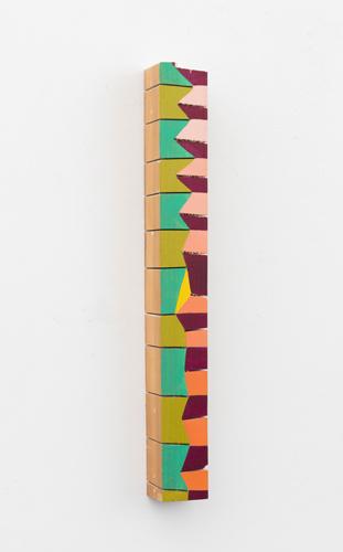 """accordion , 2013 acrylic on wood 14.5 x 1.75 x 1.75"""""""