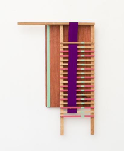 "Plumb line , 2013 acrylic and fabric on wood 20.5 x 14 x 2.25"""