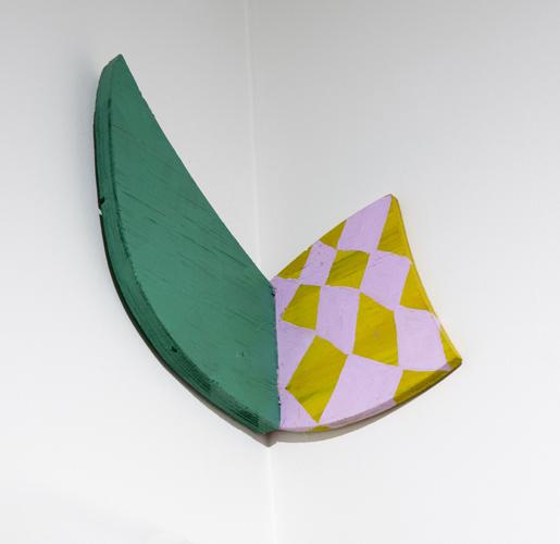 """green shadow, 2013 acrylic on wood 10.5 x 8 x 7"""""""