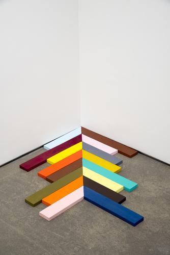 "chevron, 2013 acrylic on wood 1 x 31 x 35"" (on floor)"