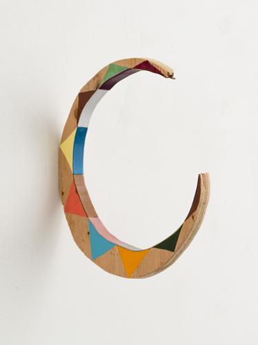 "circo, 2013 acrylic and leather on wood 12.5 x .75 x 11"""