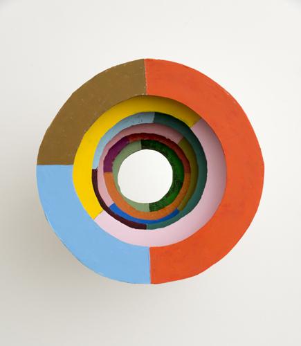 """vortex, 2013 acrylic on cardboard and peach basket 20 x 20 x 13"""""""