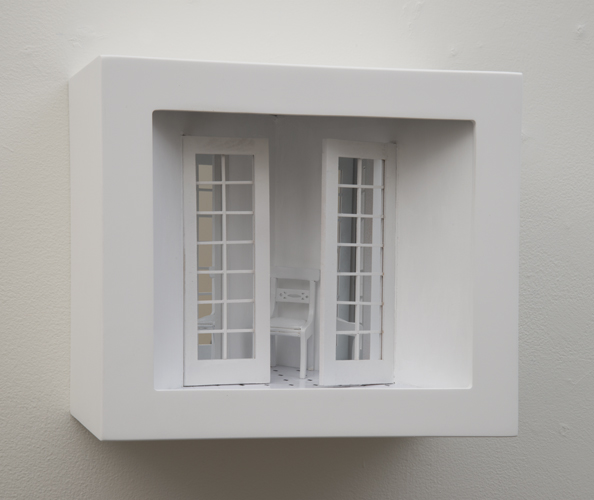"las meninas , 2015 mixed media, mirrors, wood  10.5 x 12 x 8"""