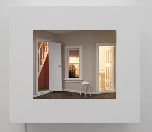 "walk-up , 2015 mixed media, mirrors, photograph, light, wood 16 x 18 x 10"""