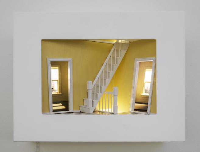 "landing , 2015 mixed media, photographs, light, wood 16 x 20 x 10"""