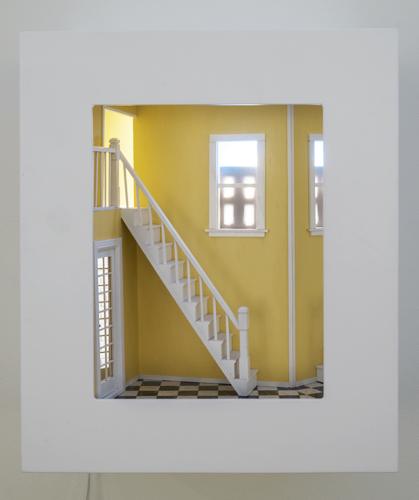 "entrance , 2015 mixed media, mirrors, light, wood 20 x 17 x 10"""