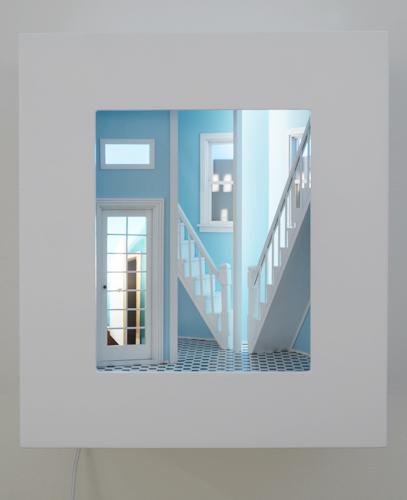 "foyer , 2015 mixed media, mirrors, light, wood 18 x 16 x 10"""