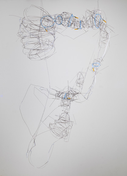 From an old drawing , 2012 stainless steel wire, plastic tube 69 x 42 x 22 inches