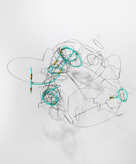 Fuse #2 , 2011 stainless steel wire, plastic tube 19 x 24 x 18 ½ inches