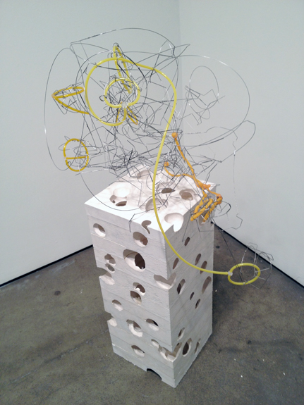 Earth and Sky , 2008-12 hydrostone, stainless steel wire, plastic tubing, silicone 39 ¾ x 22 x 16 inches