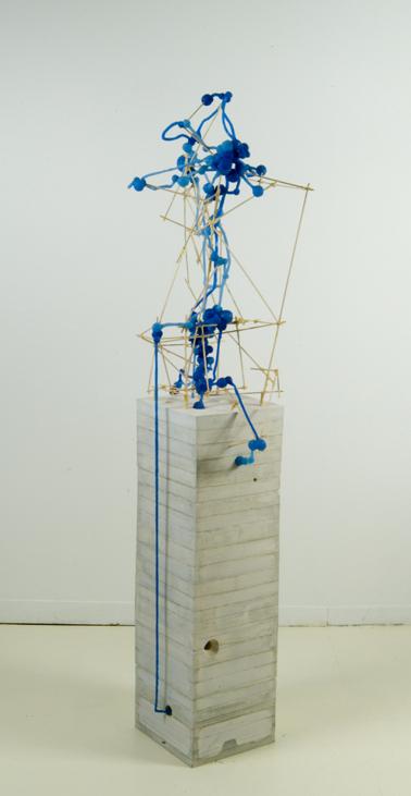 "System Drawing #22 , 2006 silicone, hydrostone, basswood, glue 55""x 15 1/2""x 10"""