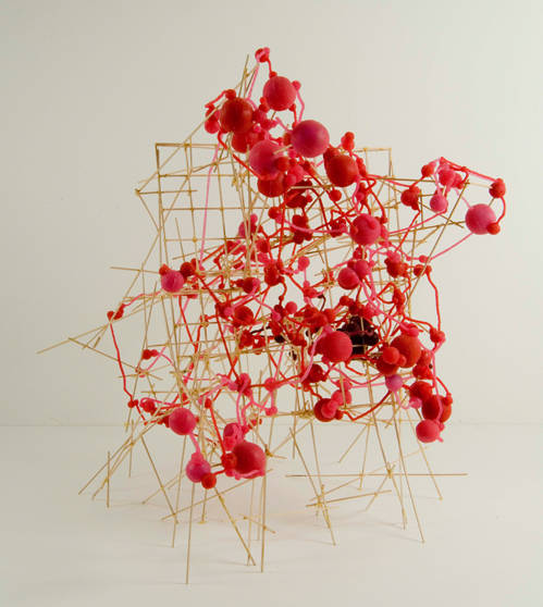 """System Drawing #26 , 2006 silicone, basswood, glue 30""""x 33 1/2""""x 24"""""""