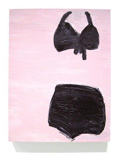 Bikinis and Bombshells 2 , 2008 oil on linen 18 x 14 inches