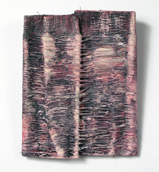 La Carta (3),  2008 paper, thread, acrylic paint 8 1/2 x 6 1/2 x 1 1/2 inches