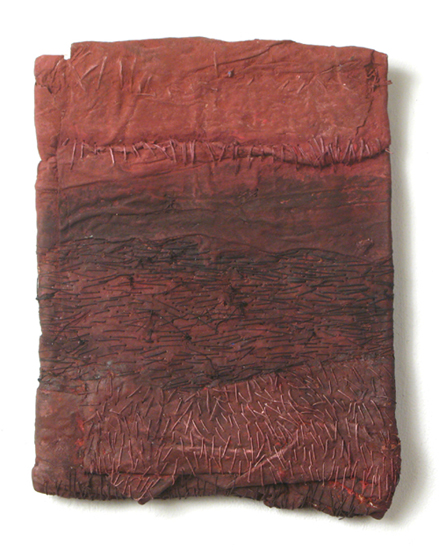 La Carta (5),  2008 handmade paper, thread, acrylic paint, marble dust  11 x 8 x 1 inches