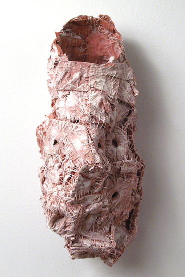Reconstructed (5),  2009 handmade paper, thread, acrylic paint, marble dust  18 x 18 x 8 inches
