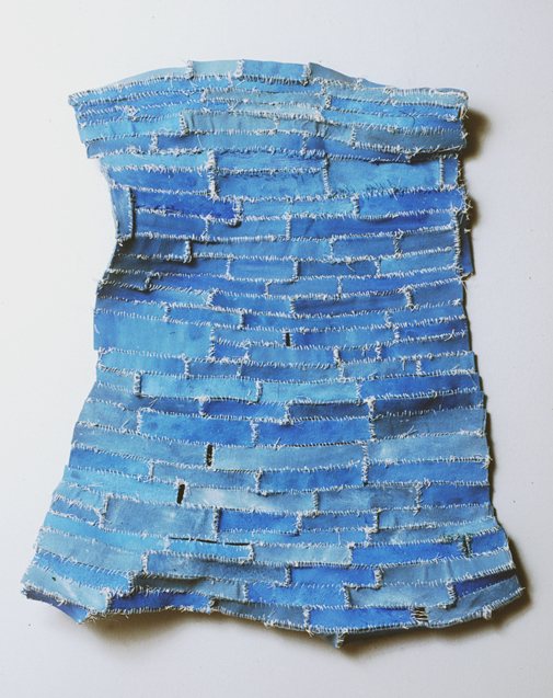 "Out of the Blue , 2004 cloth, acrylic paint, thread, marble dust 23""x19 3/4""x3"""