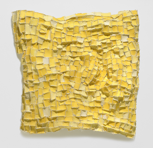 "Recollection...Yellow (1) , 2006 paper, cloth, acrylic paint, thread, marble dust 29""x29""x4 1/2"""