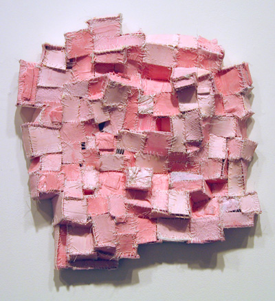 "Recollection...Pink (3) , 2006 paper, cloth, acrylic paint, thread, marble dust 16 1/2"" x 16"" x 3"""