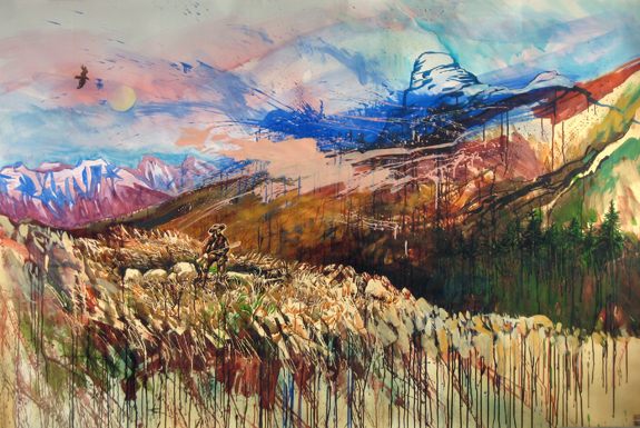 A True Wilderness Heart , 2011 ink, acrylic, and watercolor on paper 59 x 87 1/4 inches