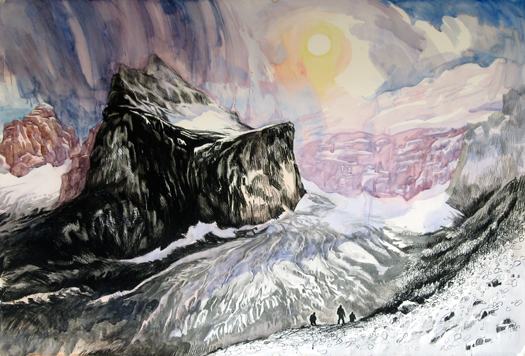 Plain of the Six Glaciers , 2011 charcoal, watercolor, and graphite on paper  40 x 59 inches