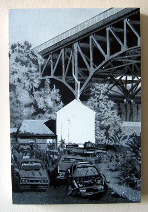"""The Run , 2005 spray paint on panel 12"""" x 8 """""""