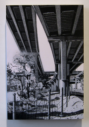 "Eliza Furnace , 2005 spray paint on panel 12"" x 8 """