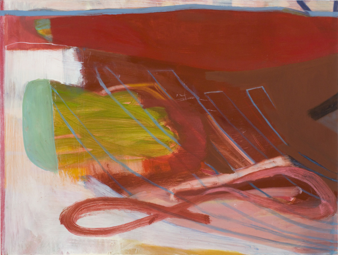 """slow curve ,2010 oil on canvas on panel 16 x 24"""""""
