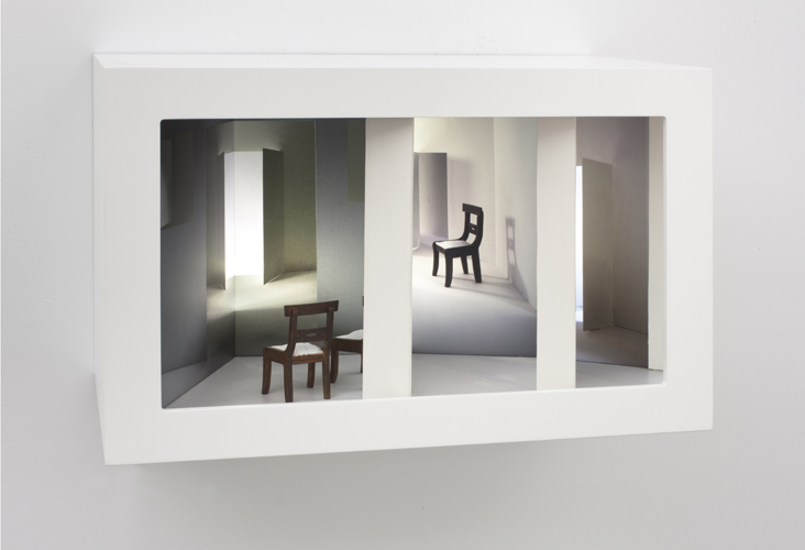 off center , 2011 wood, mixed media, mirror, digital prints, plexi glass, electrical lights 11.5 x 18 x 10""