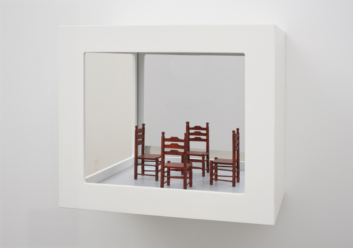 """conversation (edition of 2) ,2011 wood, mixed media, glass mirror 10.5 x 12 x 8"""""""