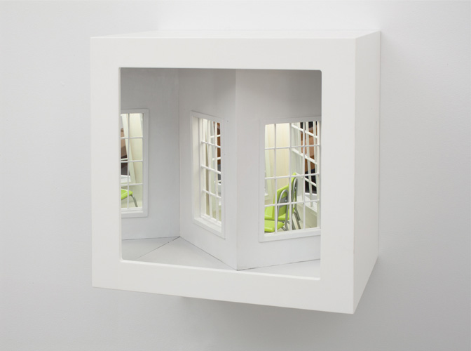 "envy ,2011 wood, mixed media, mirror, electrical lights 13 x 13 x 9"""