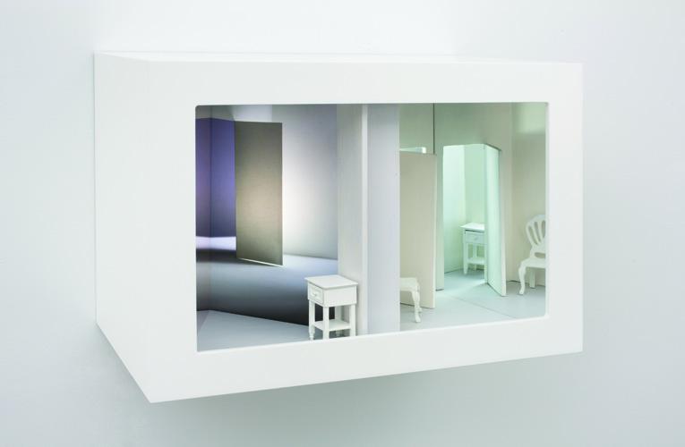 """misplaced , 2011 wood, mixed media, mirror, digital print, plexi glass, electrical lights 11.5 x 16.5 x 10"""""""