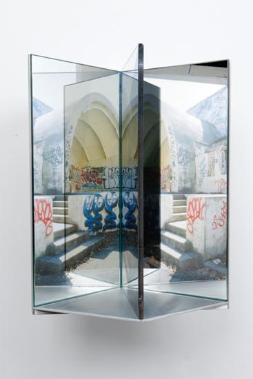 """entrance , 2009 aluminum, duraclear, glass mirror, plexi-glass 12 x 8 x 9"""""""