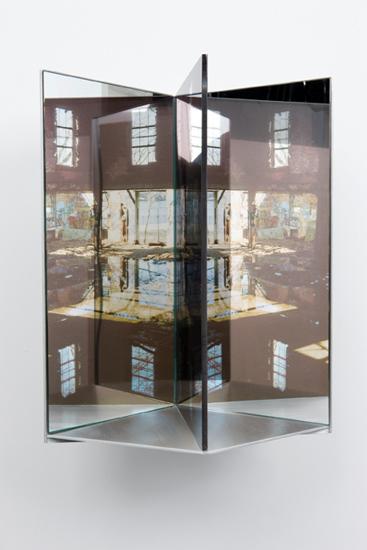 "flood, 2009 aluminum, duraclear, glass mirror, plexi-glass 16 x 9 x 10"""