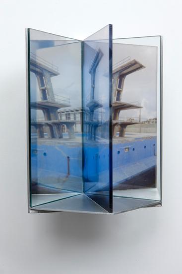 """high dive , 2009 aluminum, duraclear, glass mirror, plexi-glass 12 x 8 x 9"""""""