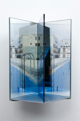 "ladder , 2009 aluminum, duraclear, glass mirror, Plexi-glass 16 x 9 x 10"""