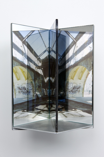 "shelter 1,  2009 aluminum, duraclear, glass mirror, Plexi-glass 12 x 8 x 9"""